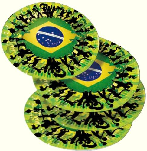 ILIEN WM 2014 * // Party Pappteller Teller brasilianische Farben Grün Gelb Weltmeisterschaft Fussball ()