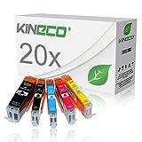 20 Tintenpatronen kompatibel zu PGI-550XL CLI-551XL für Canon Pixma MX925 All-in-One, Pixma iP7250, Pixma iX6850 A3+, Pixma MG5650, Pixma MG7550, MG6450, MG6650, MG7150 - mit Chip und Füllstandsanzeige - Schwarz je 23ml, Color je 15ml