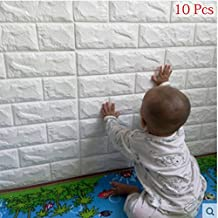 3D Carta da Parati Mattoni Bianco, YTAT 3D Brick Stickers Wall, Stickers Cucina Wall, Stickers Muro 3d,Adesiva 3d Muro Di Mattoni PE Foam pannelli per Camera da Letto Soggiorno Moderno Sfondo TV Décor(10, bianco)
