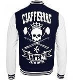 Shirtee Carp Fishing 'til We Die - witziges Karpfenangler Karpfenangeln Carp Fishing Design - College Sweatjacke -XL-Dunkelblau-Weiss