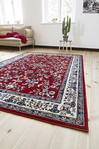 andiamo Klassicher Orientteppich Perserteppich Orientalisches Muster Webteppich Kurzflor Tappeto Polipropilene Rot 120 x 170