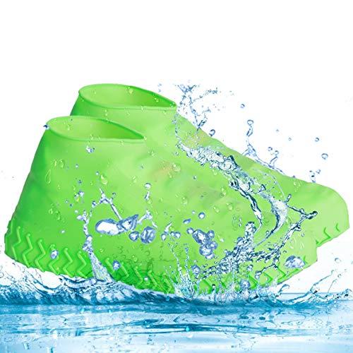 Tapusen Überschuh, Regenüberschuhe Wasserdicht Überschuhe Regenfester Silikonüberschuh im Freien, Wiederverwendbare, rutschfeste, Faltbare Geeignet für den Einsatz an Regentagen (Grün, L) -
