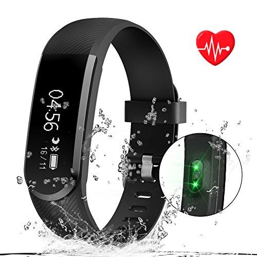 Kainuoa Pulsera Actividad, Pulsera inteligente Impermeable ,Monitor de Calorías, Monitor de Ritmo Cardiáco y Sueño, Control de Musica y Cámara,Notificación de mensaje, Podómetro,Monitor de Sueño, Contador de pasos, Reloj, Bluetooth 4.0 Compatible con IOS y Android