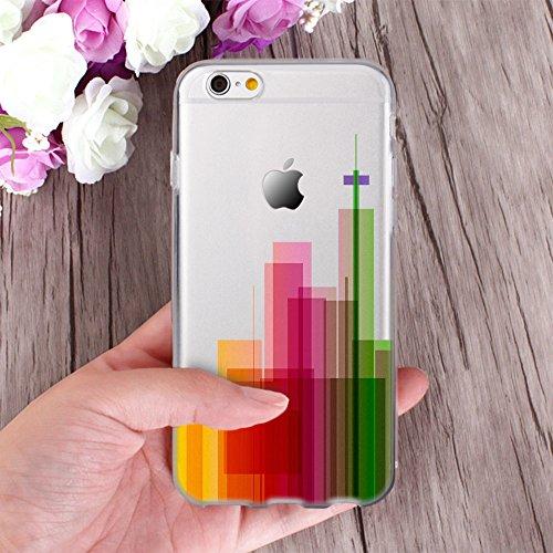 OOH!COLOR® Design Case für iPhone 7 Plus mit Motiv MPA147 weiß Punkte modisch stilvoll Silikon Hülle elastisch Schutzhülle Transparent Case Luxus Cover Slim Etui APL003 Stadt