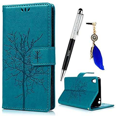 Sony Xperia E5 Case ,Lanveni Printing Series Premium PU Leather Wallet Flip Cover Bookstyle & Magnetic Closure & Detachable Hand Strap & Card Slots & Stand Function Protective Cover For Xperia E5 + One Stylus Pen + One Dust Plug - Set 5