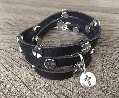 Fait à la main Noir Bracelet en cuir avec rivets en métal argenté Argent Croix chrétienne religieuse Charm Multi Wrap Band Sangle de Design de mode Bijoux Bracelet 15,2cm