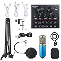 Festnight Live Sound Card & BM800 Suspension Microphone Kit Broadcasting Recording Condenser Microphone Set Intelligent Volume Adjustable Audio Mixer Sound Card