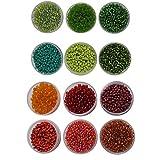 #7: eshoppee 8/0 Seed beads for jewelery making Set of 12 Colours , 20Gm X 12