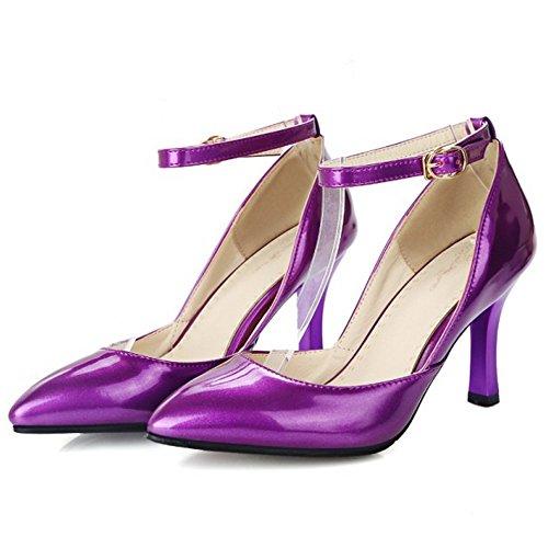 RizaBina Femmes Mode Aiguille Talons Hauts Escarpins De Sangle De Cheville Violet