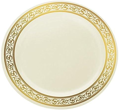 Decorline Decor Plastic Disposable Elegant Party Plates, Classic Collections ,Cream Gold 10 pcs (10.25 Inch