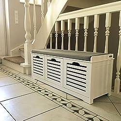 SoBuy® moderne Schuhtruhe,Sitzkommode mit 3 Körben,Sitzbank, Schuhschrank mit Sitzkissen,Spieltruhe, FSR23-W