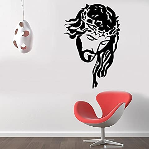 Jesus Crucifixion Christian Removable Wall Sticker Art Home Office Room Mural Decor Vehicle Car Truck Window Bumper Graphic Decal- (10 inch) / (25 cm) Tall MATTE BLACK Color by StickerLove