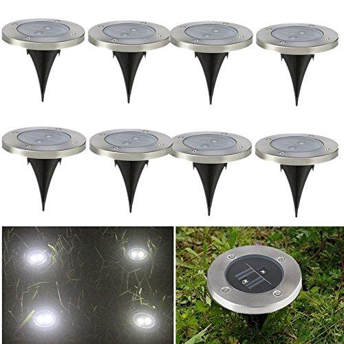 8 X Focos Solares Luces LED Jardin, Acabado Inoxidable Luces de Suelo Con Luz Blanca y 2 LEDs Impermeable para el Jardín, Césped, Camino por NORDSD