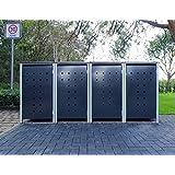 4–Cubo de basura Cajas Modelo No. 7Antracita Gris para cubos de basura 240Litros/Resistente a la intemperie con revestimiento de polvo/con Tapa y puerta delantera