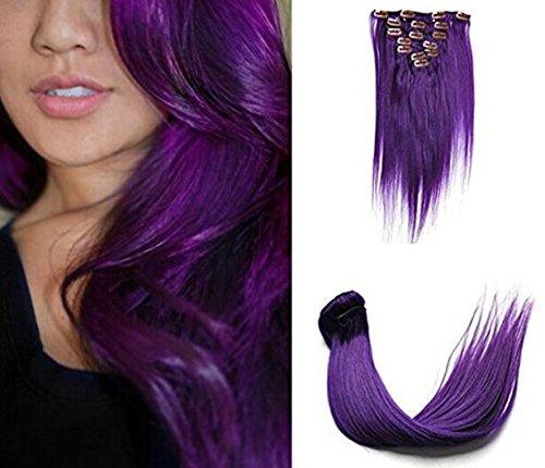 SHINING STYLE 18 Zoll/45cm Straight Clip-In-Haarverlängerung für Highlight - Hochwertiges Remy Gemacht Haar 7 Teilig 70 g Farbe:Purple/Lila (Lila Echthaar Extensions)