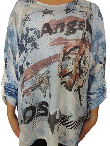 Verschiedene Farben zur Auswahl Blusen mit USA Style Größe 46, 48, 50, 52, 54 Blauton