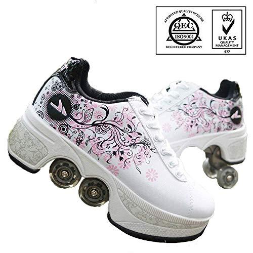 WERTYUH Deformation Schuhe Kinder Studenten Roller Schuhe, 2-In-1-Mehrzweckschuhe Skateboard Schuhe Skating,White-39