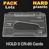 3Pcs Hartplastik doppelseitigen Kartenhalter Transparent Klar Horizontale ID Badge Holder Kartenabdeckung Easy Access Thumb Notch - Transparent