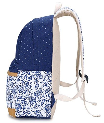 Keshi Leinwand neuer Stil Schulrucksäcke/Rucksack Damen/Mädchen Vintage Schule Rucksäcke mit Moderner Streifen für Teens Jungen Studenten Mehrfarbig 6