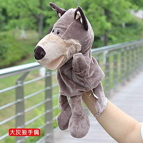 FairOnly Handpuppe Mund kann Sich bewegen, niedliches Cartoon-Modell Dschungeltier voller Stofftiere, Kinder erzählen, Geschichte, Geschenk Spielzeug Silver 11cm-30cm