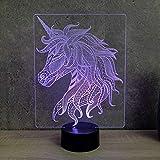 Lampe Licorne de profil personnalisable 16 couleurs RGB & télécommande - Fabriquée en France - Lampe veilleuse - Lampe de grande taille
