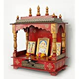 LifeEstyle-com Handpainted Wooden Home Temple without Doors, Rajasthani Art