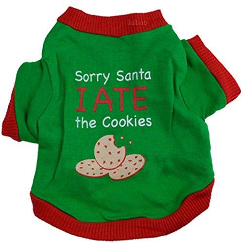 Ninasill ღ ღ Weihnachten Puppy Hund Kleidung Weihnachten Cookies Interlock Siegel Green Seal Pet Shirt Casual Medium Grün -