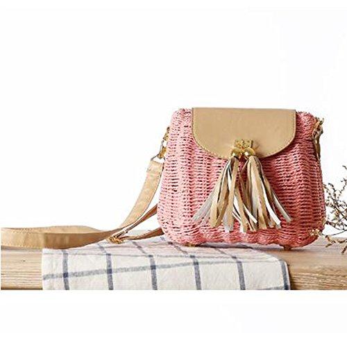 SUNAVY Damen Süß Stroh Schultertasche Tragbar Handtaschen Sommer Strandtaschen mit Quaste,Navy Rosa