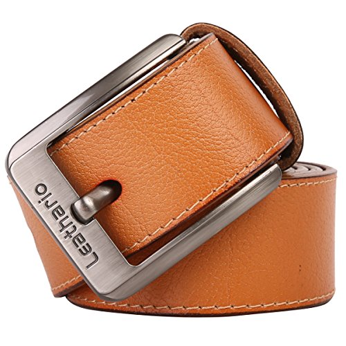 Leathario ceinture en cuir unisexe ceintures cuir veritale pour hommes ceintures de boucles fixation de aiguille en couleur cafe Jaune