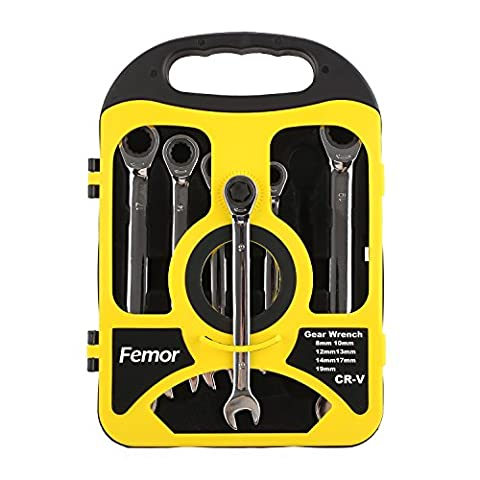 Femor 12pcs/7pcs Fixed Head Combination Spanner Ratchet Metric Ratchet Set Tool Kit 8-19mm with Tool Box (7pcs Fixed
