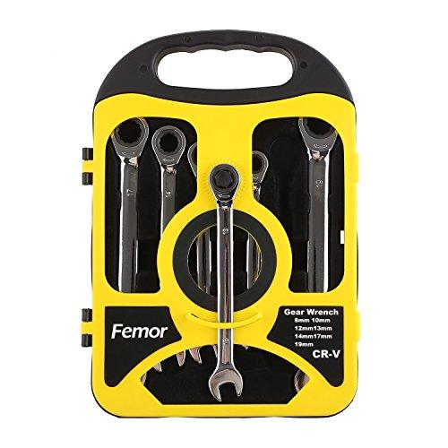 FEMOR Llave Combinada Llave con Carraca 8 19mm 7 Piezas Con Cabezal Fijado/Flexible caja Negra y Amarilla (Con Cabezal Fijado)