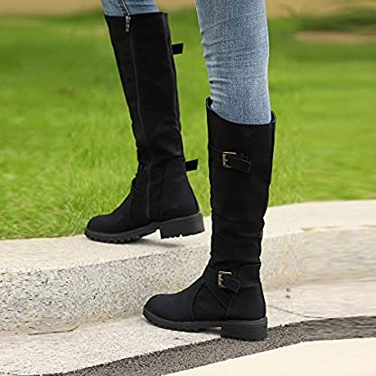 BANAA Womens Over The Knee Boots, Knee High Shoes Calf Biker Boots Ladies Zip Punk Shoes Combat Army Boots Plus Size Shoes Boots 7