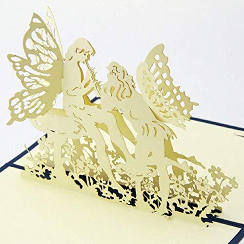 BC Worldwide Ltd handgemachte 3D-Pop-up Valentines Karte Engel Flügel Flöte Musik Blume Liebesherz Hochzeitstag, Geburtstag, großer Tag, Engagement, Einladungsgeschenk - Große Flöte