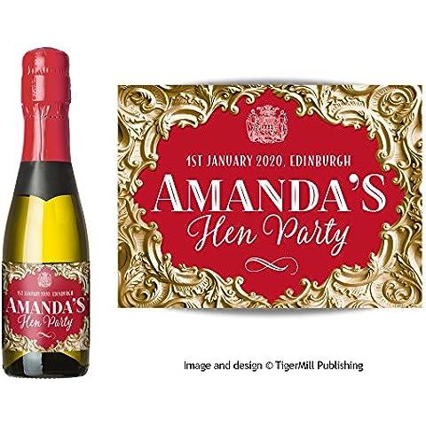Confezione da sei personalizzato Mini Champagne (200ml) o Mini bottiglia di vino (187ml) Etichette oro, effetto barocco, matrimonio, addio al nubilato, anniversario, fidanzamento, ogni occasione regalo Gold / Red