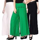 Lili Women's Soft Comfort Fit Malia Lycra Plain Palazzo Pant Pack of 3 (Free Size)