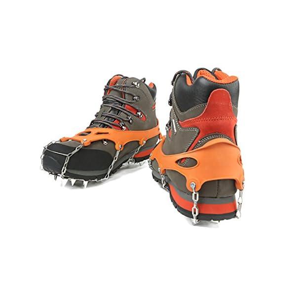 She-Lin Ice Grippers–Ligero 18Dientes Acero Inoxidable Spikes Crampones Antideslizante Seguro para Caminar Sobre Hielo y Nieve–Walk Tacos de tracción, 1Set 1