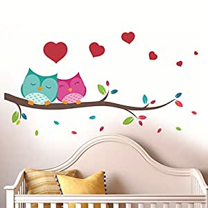 ... Decals Design U0027Love Couple Owlu0027 Wall Sticker (PVC Vinyl, 25 Cm X 70  Cm),Multicolour