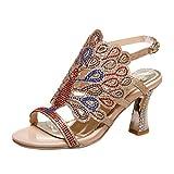 YE Damen Offene High Heels Plateau Slingback Sandalen Glitzer Pumps mit Schnalle und Strass 8cm Absatz Elegant Schuhe
