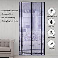 Magnetic Screen Door,with Heavy Duty Mesh Curtain,100 x 210 cm,prevent mosquitoes, bugs, flies, insects for wood,iron aluminum doors and balcony, living room door sliding door (Black-1)