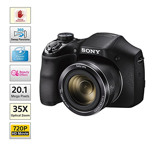 Sony Cyber-shot DSC-H300/BC E32 point & Shoot Digital camera (Black)35x optical zoom with Power charger,8GB Memory Card & Camera Case