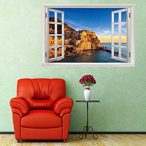 3D Gefälschte Wandaufkleber Fensterblick Fototapete Seascape Drogenmissbrauch Fenster Zum Wand Tapete Wohnzimmer Schlafzimmer Büro Flur Dekoration Wandbilder Moderne Wanddeko