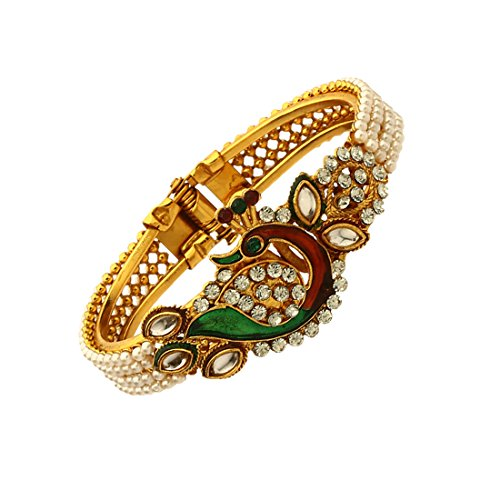 Zeneme Dancing Peacock Antique Gold Plated Bangle set for women  available at amazon for Rs.99