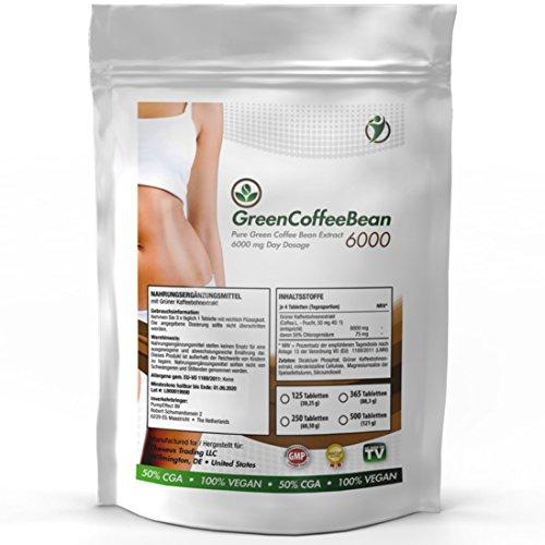 GREEN COFFEE BEAN - 6000 | 250 Tabletten (vegan) a 2000 mg | Großpackung zum fairen Preis | Grüner Kaffee Bohnen Extrakt - Natural Slimming - Gesund und natürlich abnehmen | erhöht den Stoffwechsel - Premium Qualität