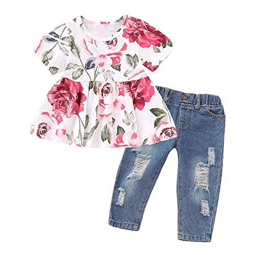 Gyratedream Baby Girl Clothes 2 Pcs Ruffle Outfits Short Sleeve Floral Shirt Tops+ Denim Pants Ripped Jeans for Girls,0-4 Year. -