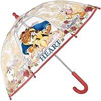 Paraguas La Bella y la Bestia - Paraguas para niña transparente de cúpula, resistente,