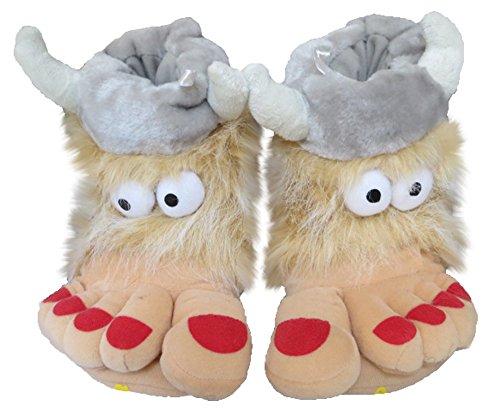 Herren und Damen NEUHEIT Big Foot Viking Hausschuhe–Erwachsene Größen UK4–UK11 Grau