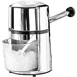 Rosenstein & Söhne Ice Crasher: Stromloser Eiscrusher mit Karbonstahl-Klinge & Handkurbel, Chrome-Look (Eiswürfel-Crusher)