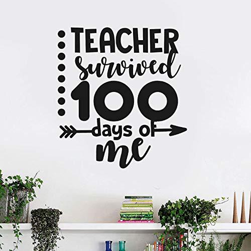 Mein Lehrer überlebte 100 Tage von mir Nette Lustige Zitat Abziehbilder Vinyl Interior Decor Abnehmbare Jungen Zimmer Kinderzimmer Wandaufkleber 42 * 46 CM