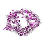 3pcs Sterne Bänder Tops ziehen Blumen Weihnachtsstreifen Bunter Girlanden-Stab-Weihnachtsbaum-Dekorations-Weihnachtsfest-hängende Verzierungen für Neujahr Home Decor (Pink, 1.8m X 8cm)