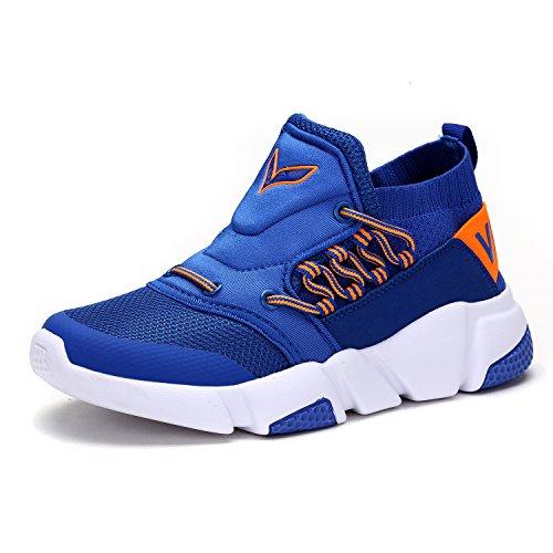 VITIKE Jungen Mädchen Mesh Sneaker Outdoor Athletic Unterhose auf Beiläufig Laufen Schuhe (Kleinkind/Kleines Kind/Großes Kind-Blau-EU36) (Running Athletic Sneakers)